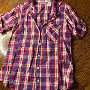 Delia's plaid shirt sleeve button up